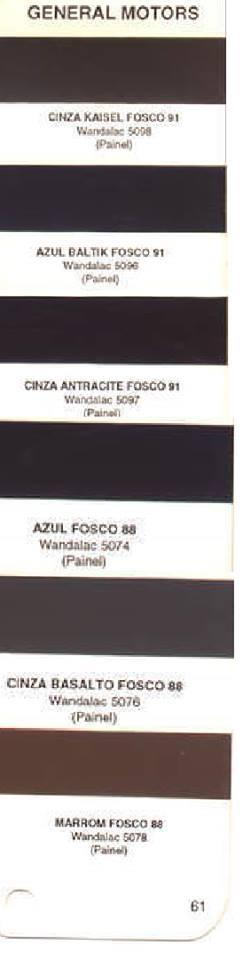97c1cacd43 Tabela de Cores Originais Opala e Caravan | Tudo para Opala
