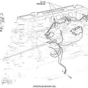 Esquema elétrico, relés e visão expandida para manutenção e montagem Linha Opala / Caravan