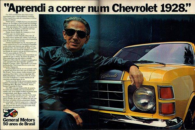 Chico Landi em publidade dos 50 anos da General Motors no Brasil